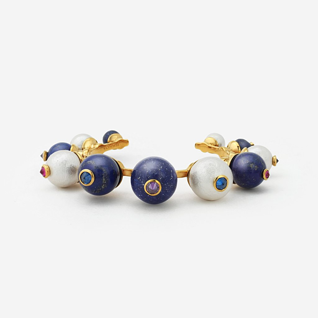 Isharya Temple Muse Lapis and Pearl Cuff Bracelet
