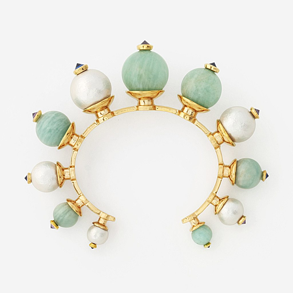 Isharya Temple Muse Amazonite and Pearl Cuff Bracelet