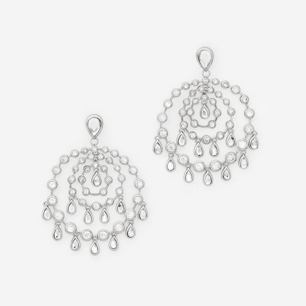 Isharya Silver Pyramid Mirror Allure Earrings