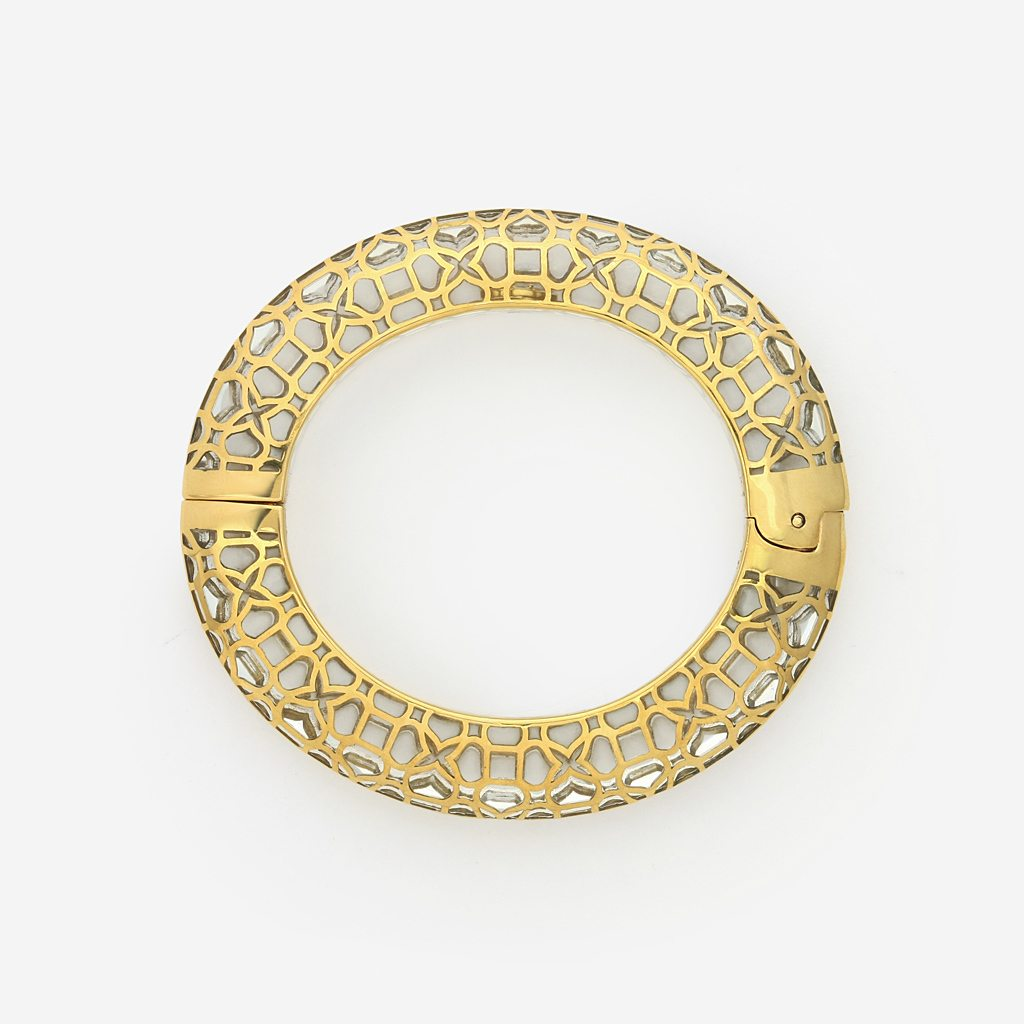 Isharya Temple Muse Clear Resin Oval Hinge Bangle Bracelet