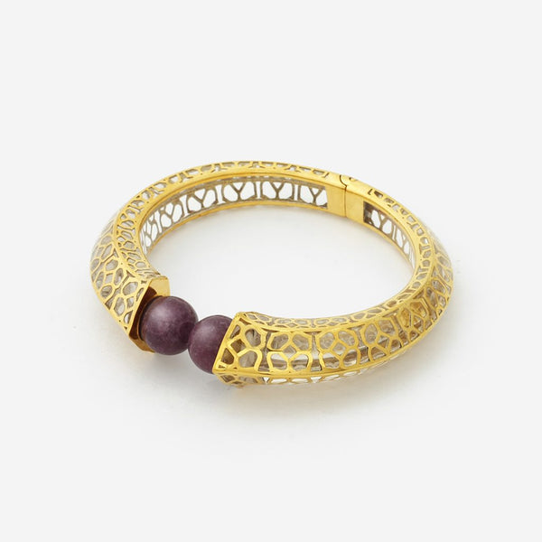 Isharya Temple Muse Marsala Quartz Clear Resin Cuff Bracelet