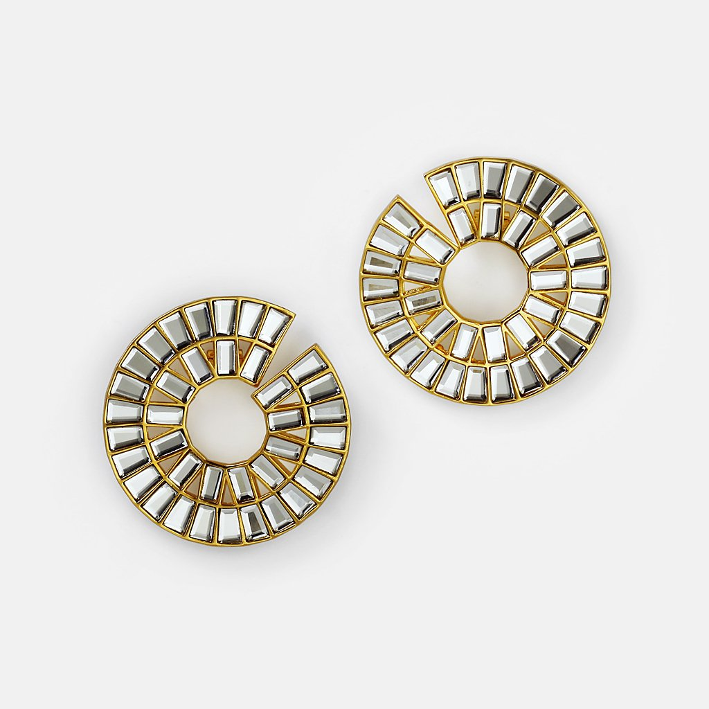 Isharya Prism Mirror Statement Hoop Earrings