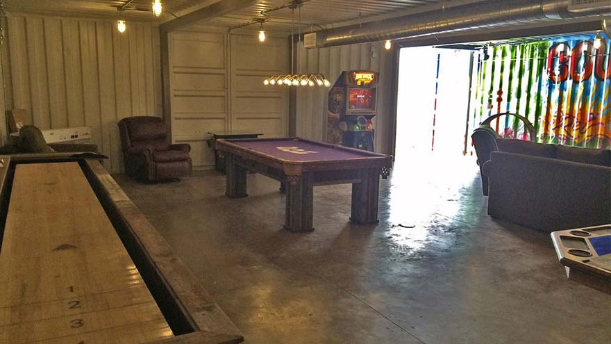 Underground Fallout Shelter Game Room Custom Texas Pool Table Shuffleboard