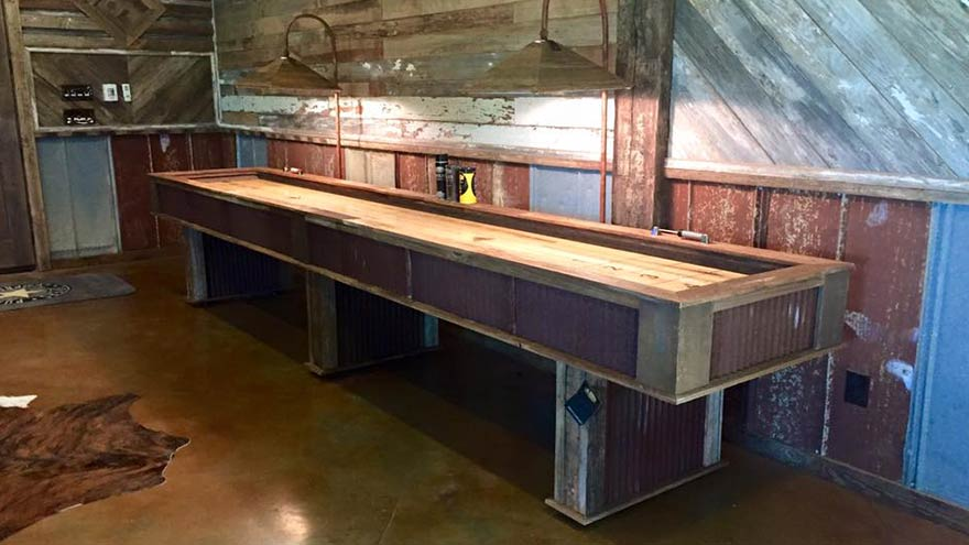 Custom Reclaimed Barn Wood Roof Metal Game Room