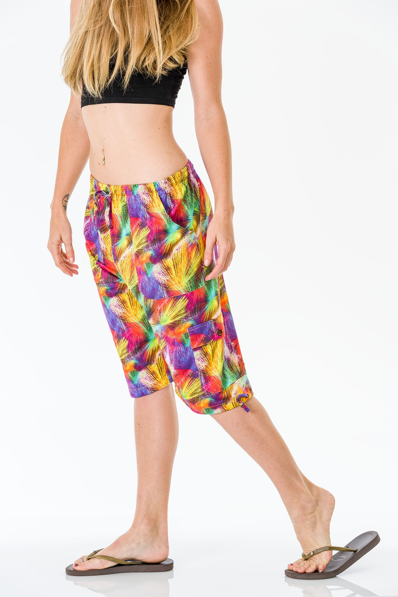 Multicolour Three Quarter Shorts