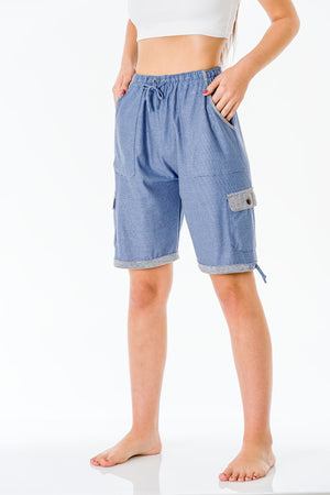 Sky Blue Three Quarter Shorts