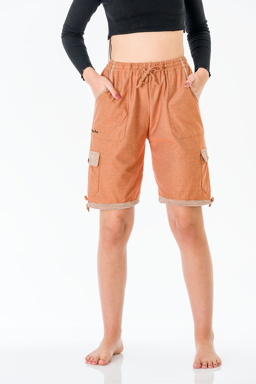Urulu Orange Three Quarter Shorts