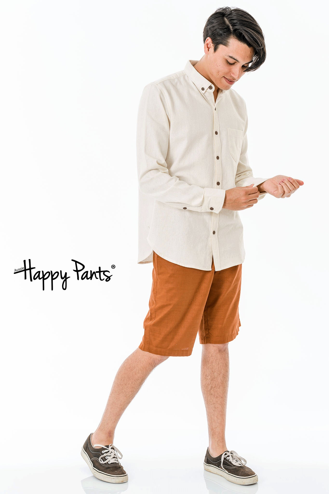 Brown Cotton Casual Shorts