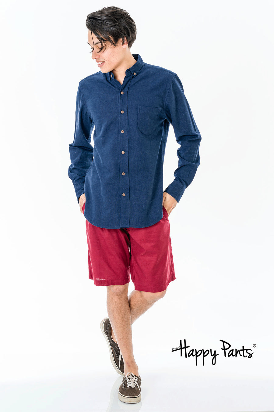 Long Sleeve Cotton Blue Shirt