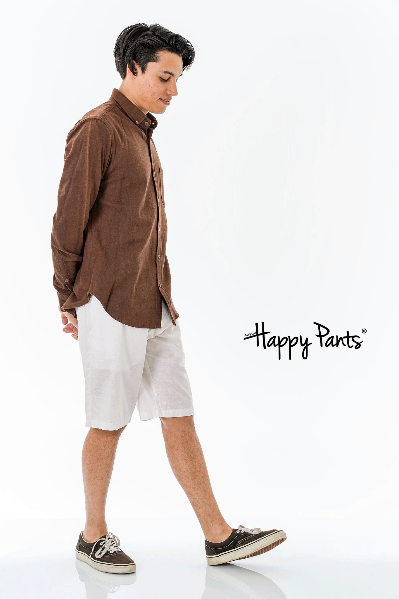 Long Sleeve Cotton Brown Shirt