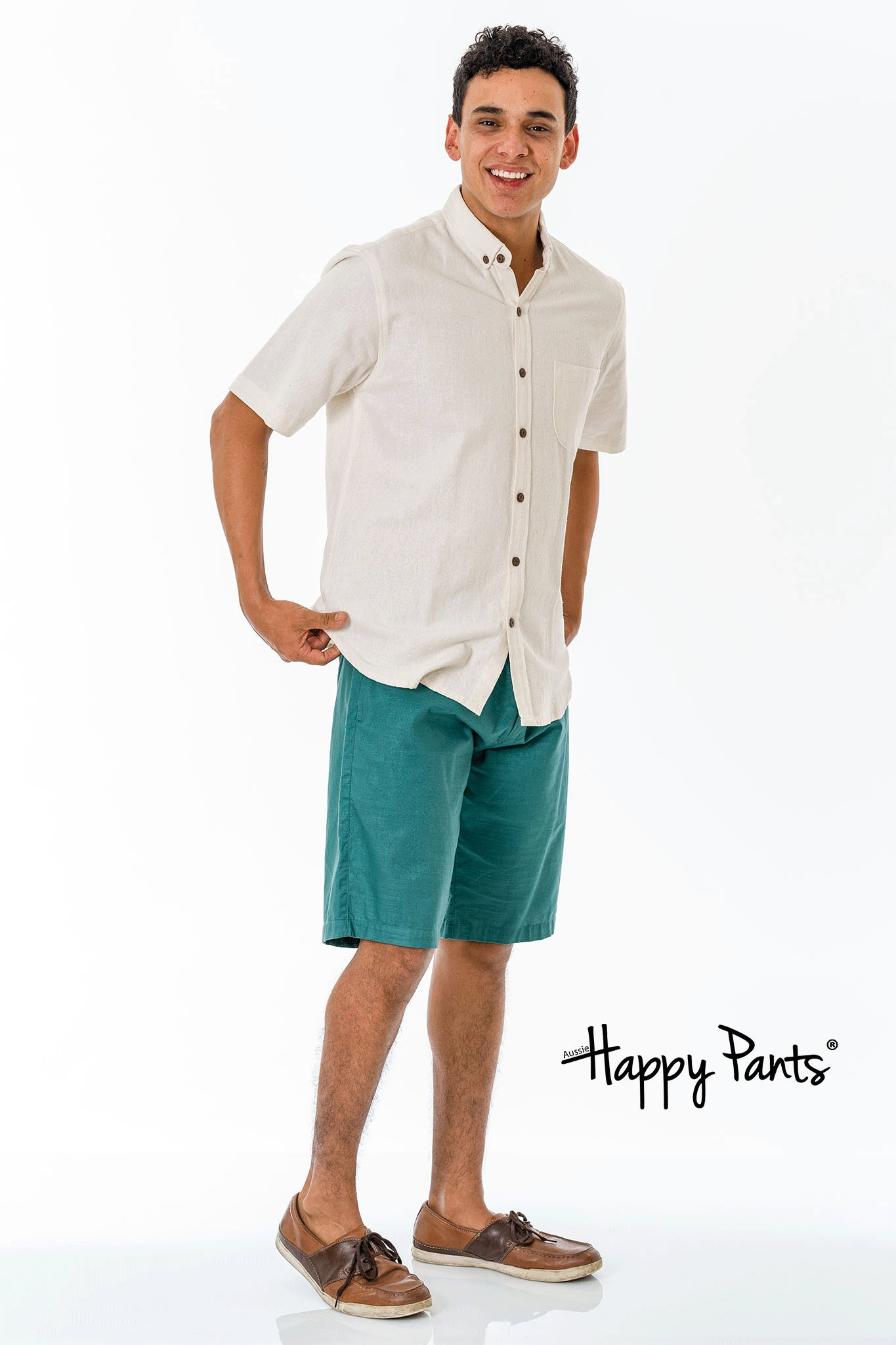 Green Cotton Casual Shorts