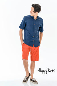 Orange Cotton Casual Shorts