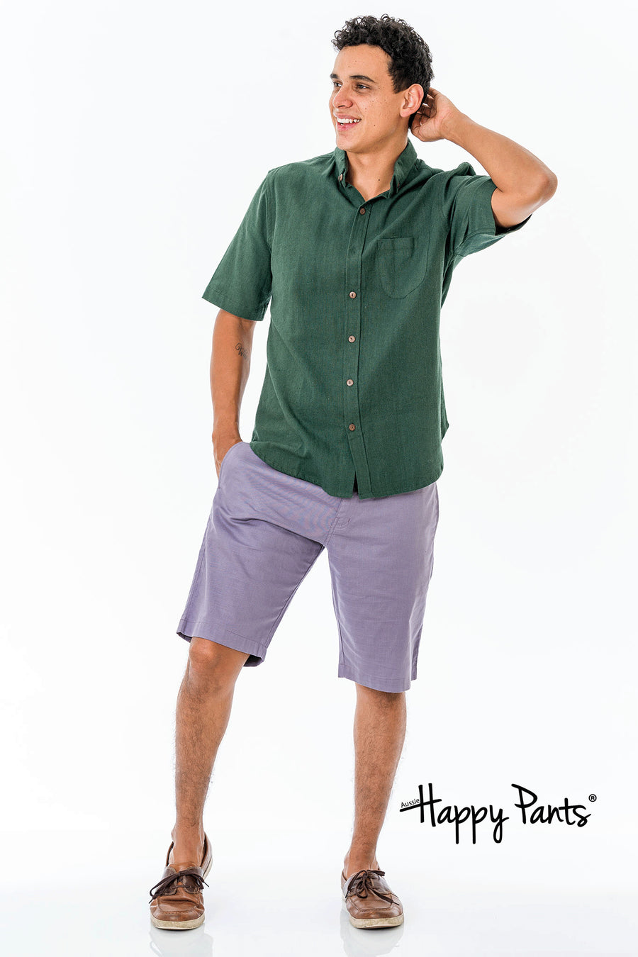 Short Sleeve Cotton Green Shirt