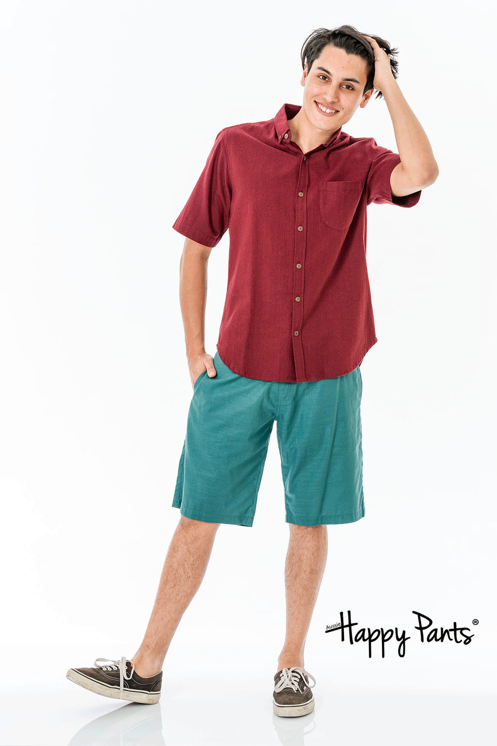 Short Sleeve Cotton Red Shirt
