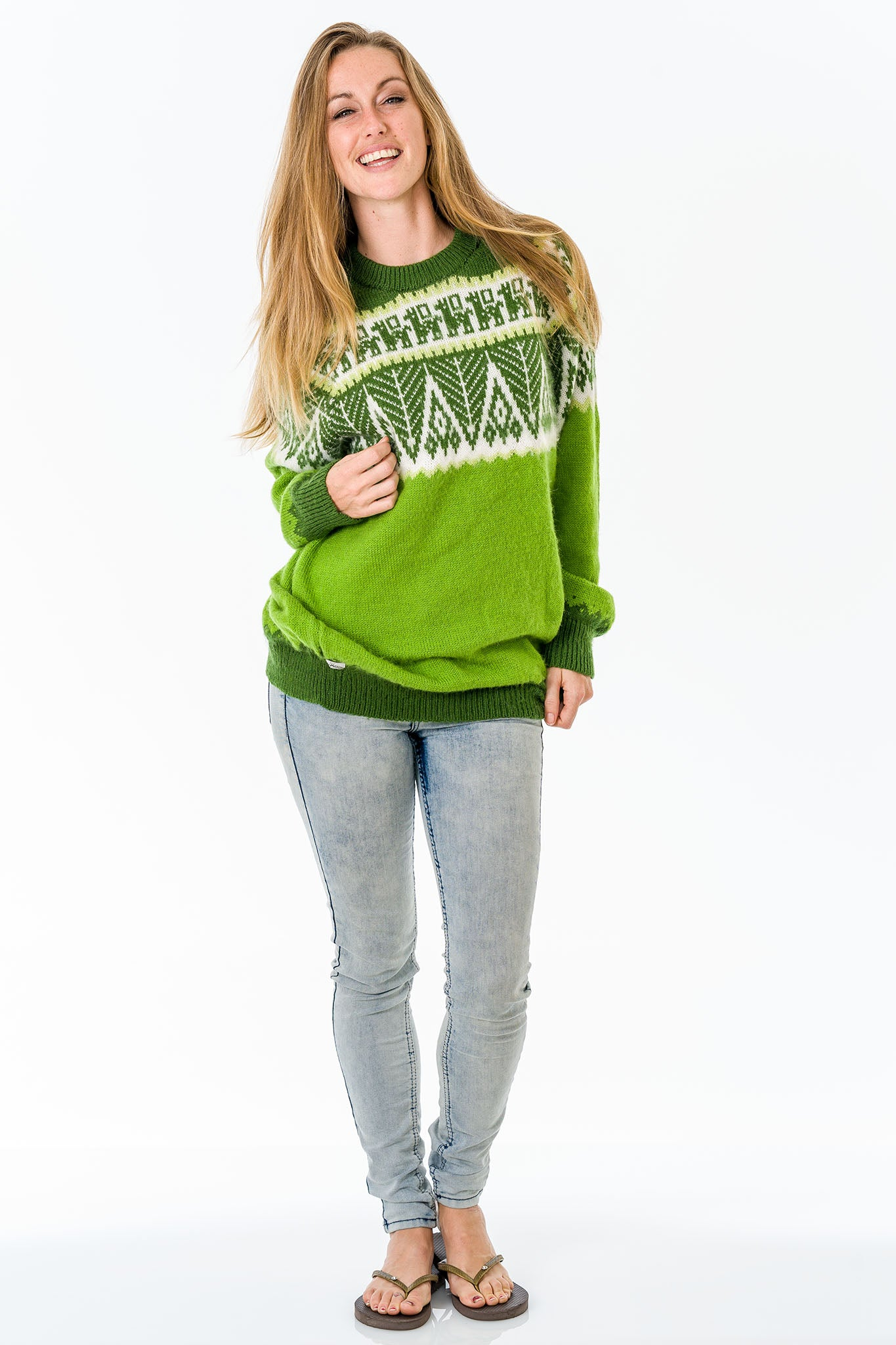 Apple Green Alpaca Wool Sweater Women
