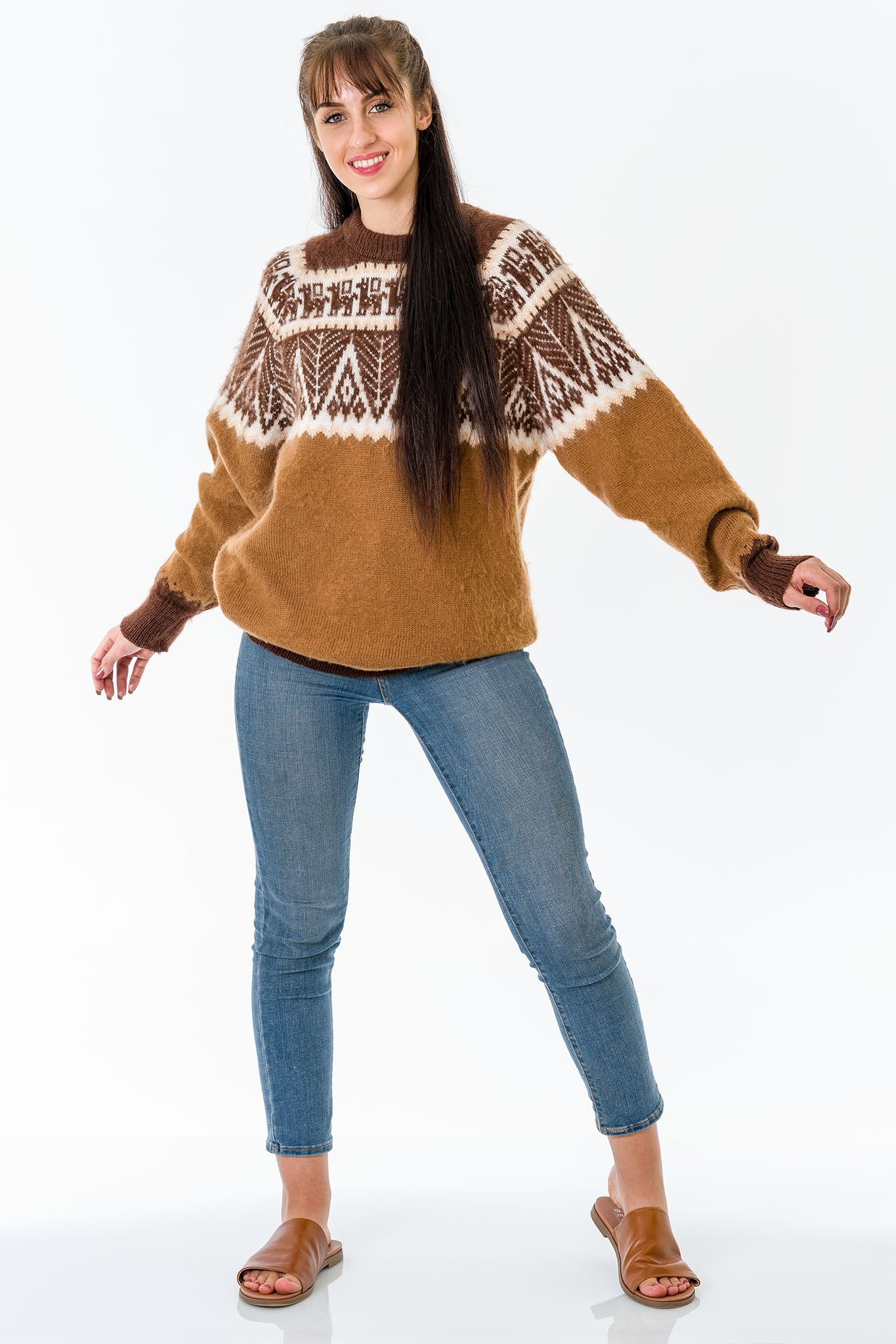 Brown Alpaca Wool Sweater Women