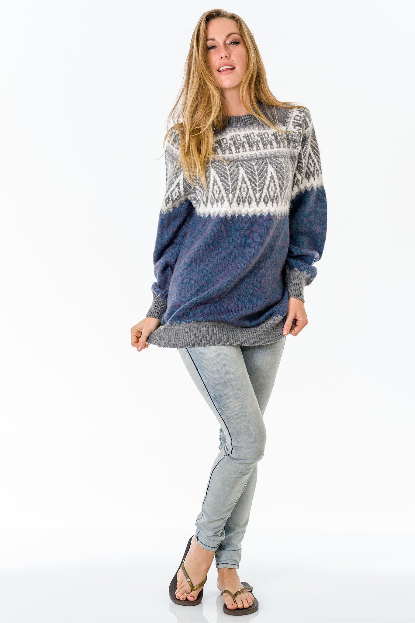 Blue Alpaca Wool Sweater Women