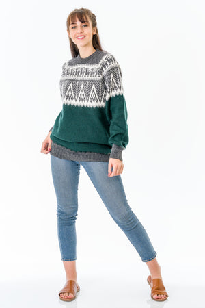 Green Alpaca Wool Sweater Women