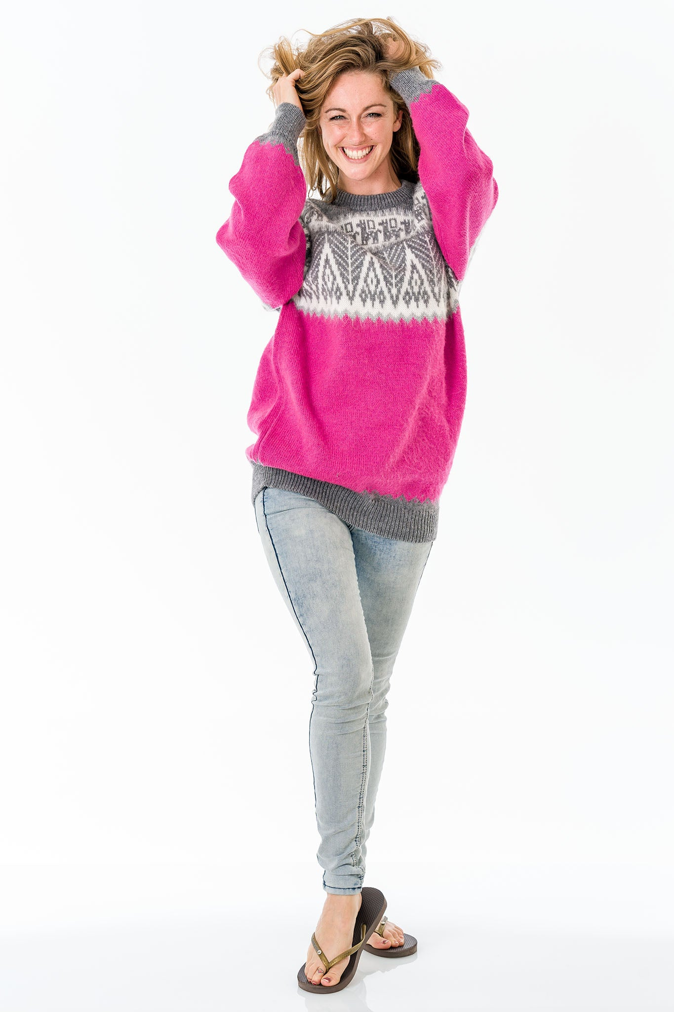 Pink Alpaca Wool Sweater Women