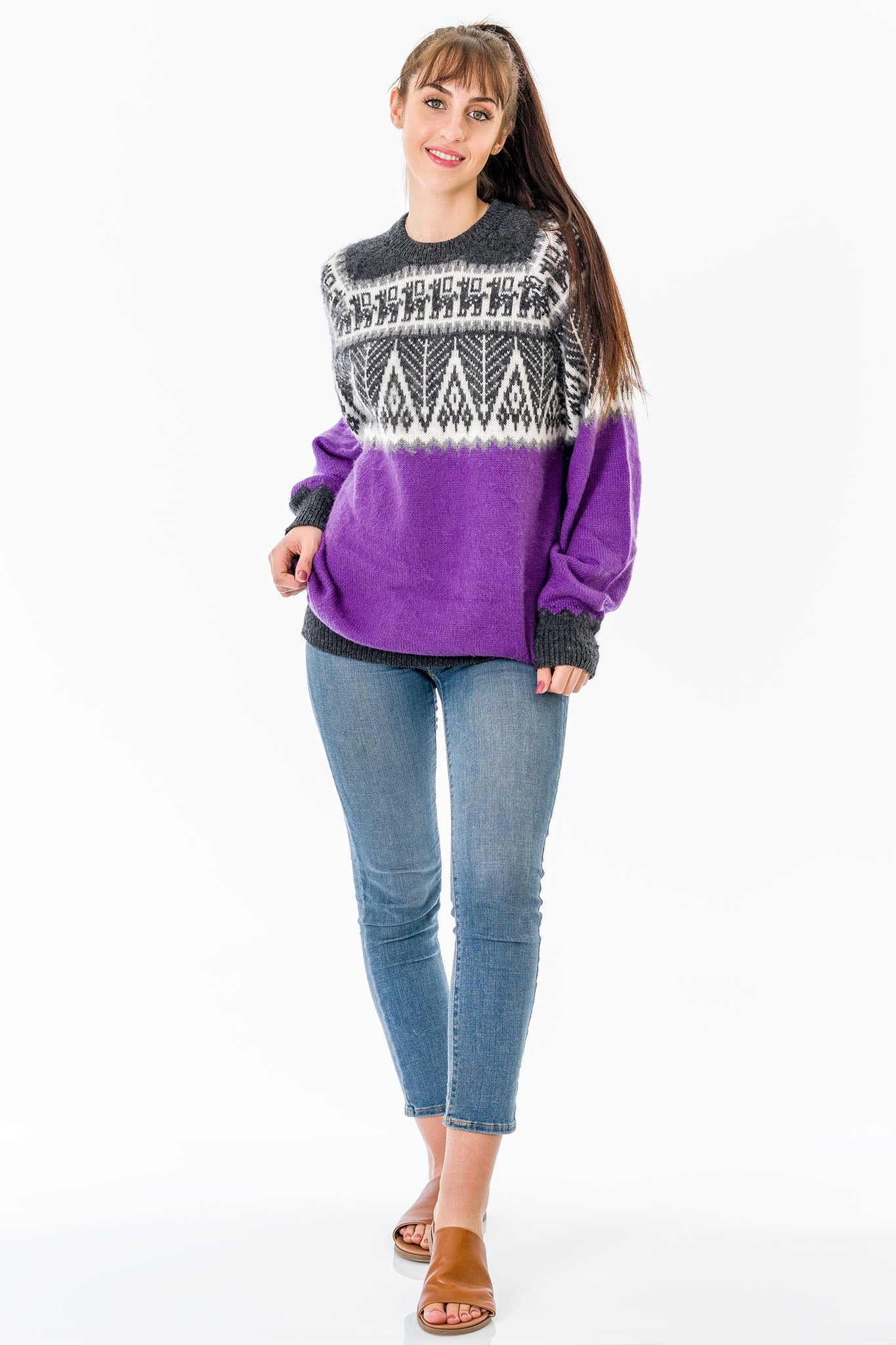 Purple Alpaca Wool Sweater Women