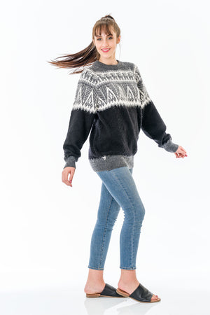 Gray Alpaca Wool Sweater Women
