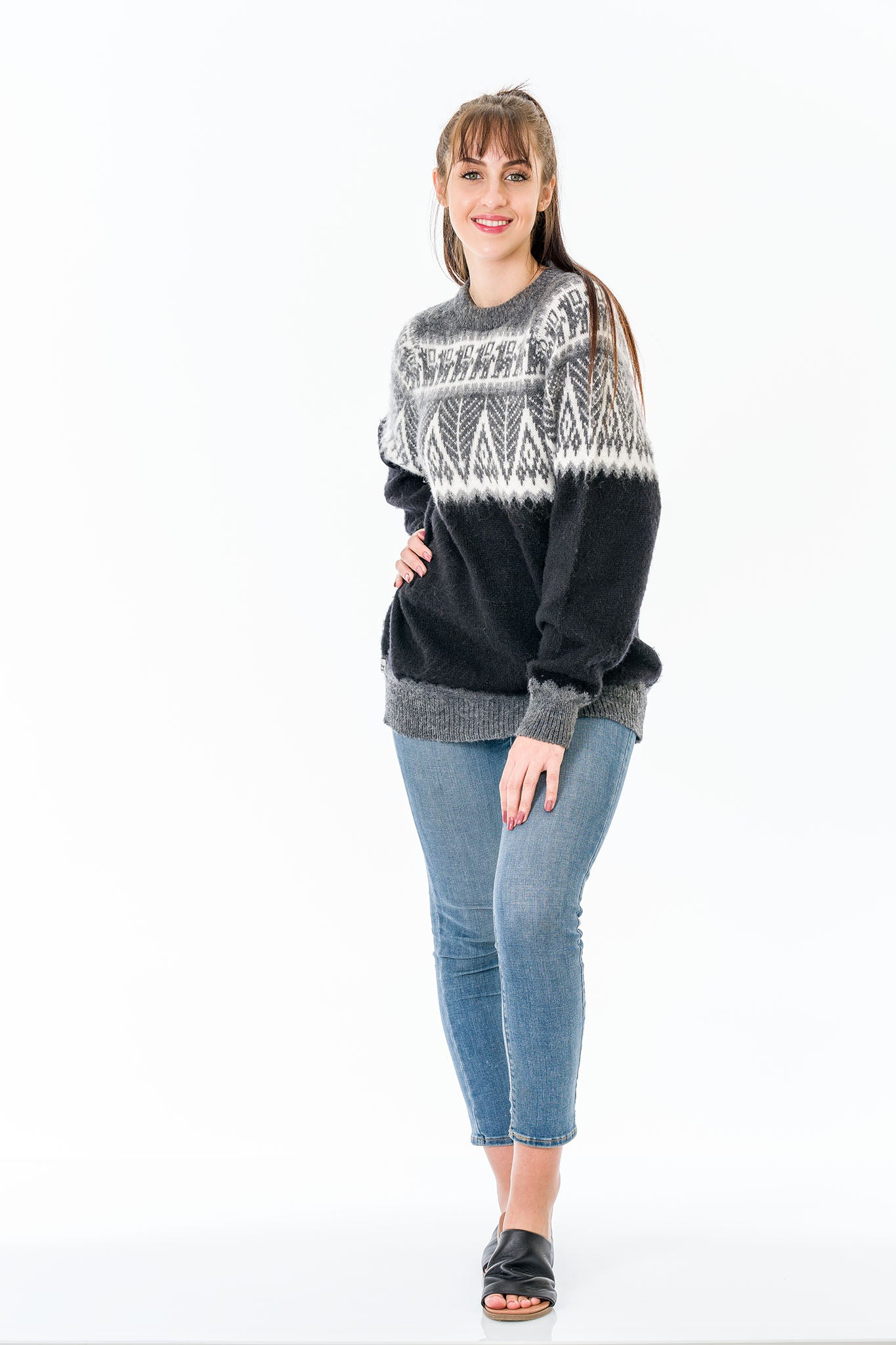 Black Alpaca Wool Sweater Women