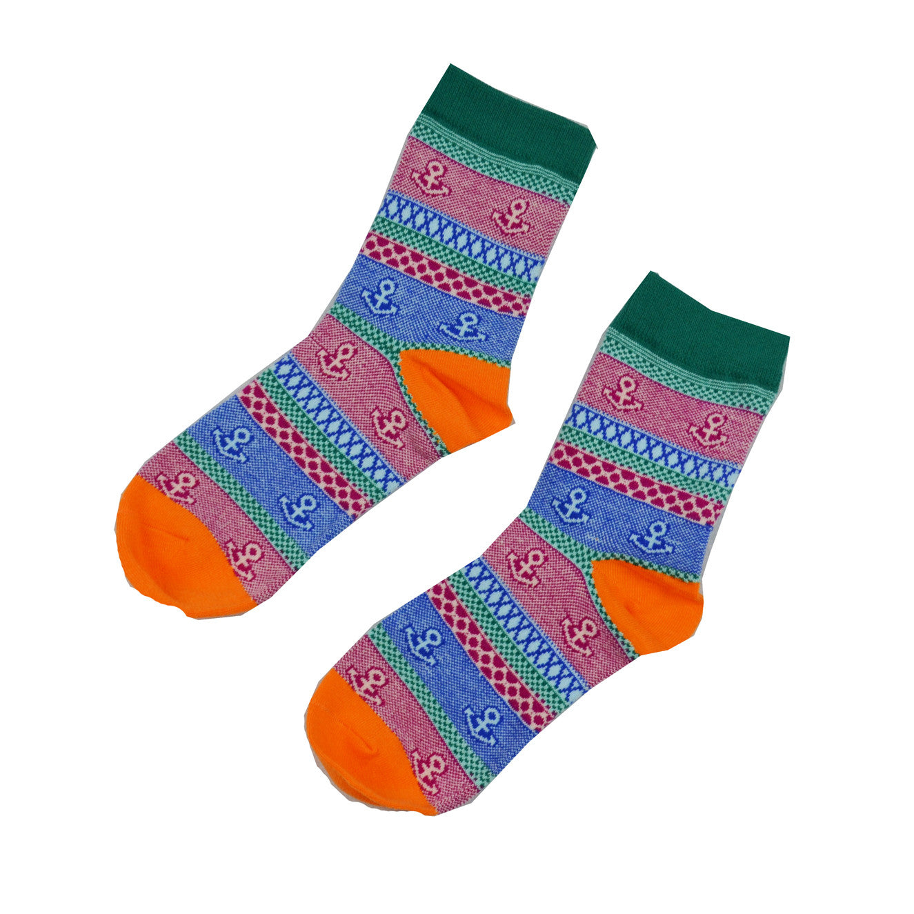 Pink and Blue anchor - Aussie Happy Socks - Happy Pants