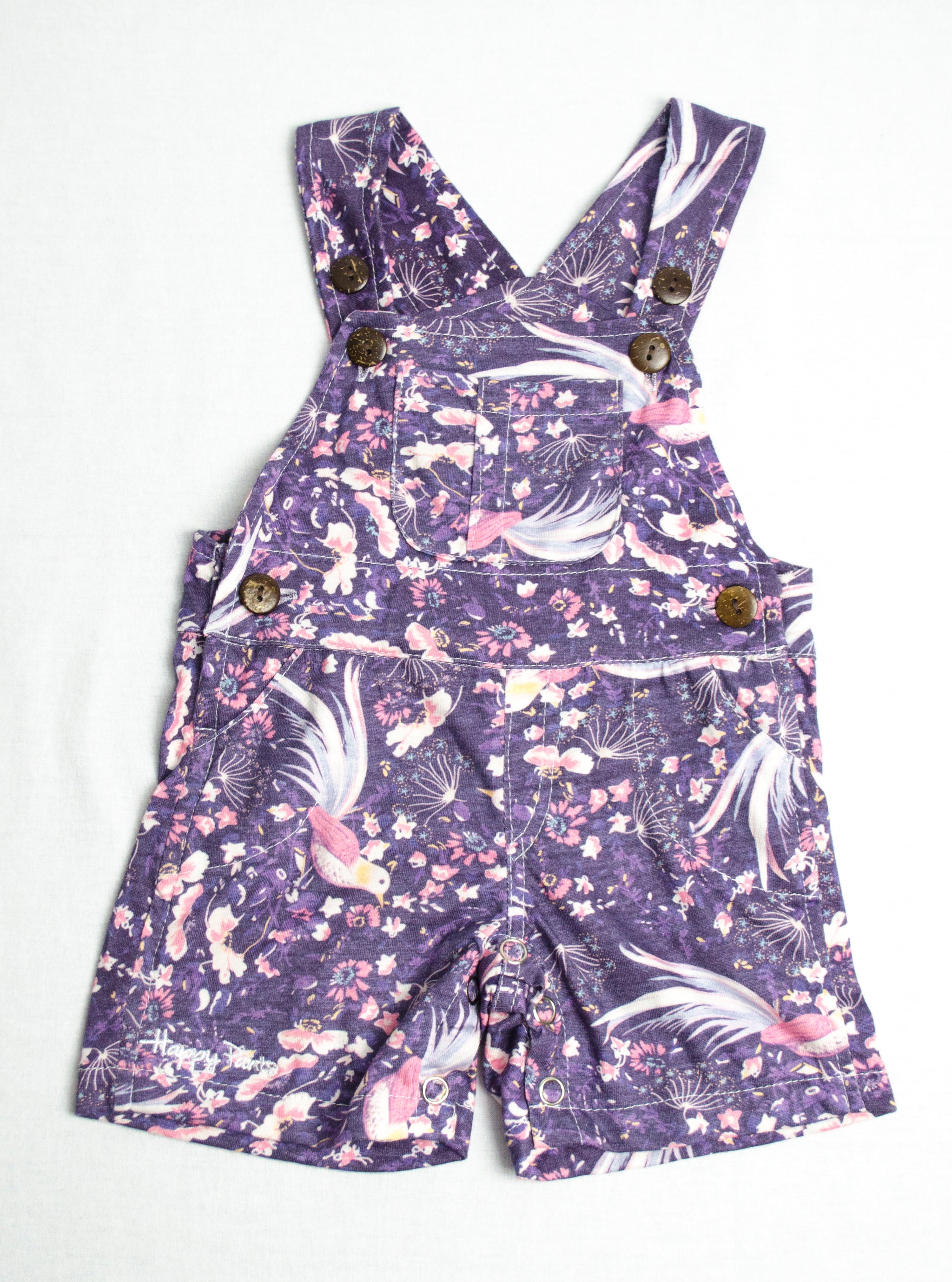 Violet Tulips Short Overall