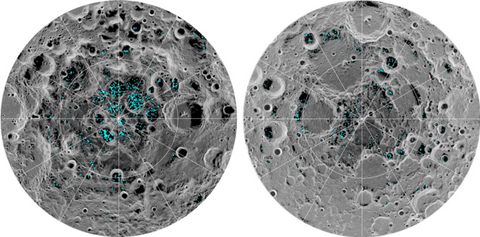 Water on the moon's surface at the poles