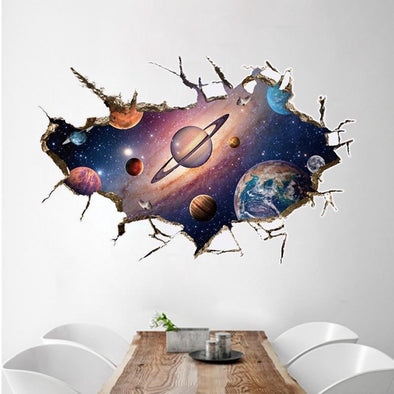 Cosmos Outer Space Wall Sticker Kindergarten Bathroom Children Room - future-rockets