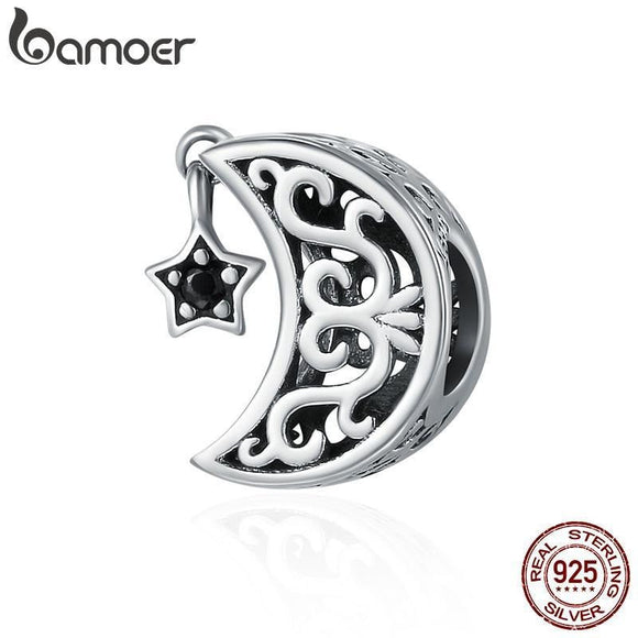 BAMOER 925 Sterling Silver Openwork Moon and Star Goodnight Charm Beads fit Bracelet SCC483 - future-rockets
