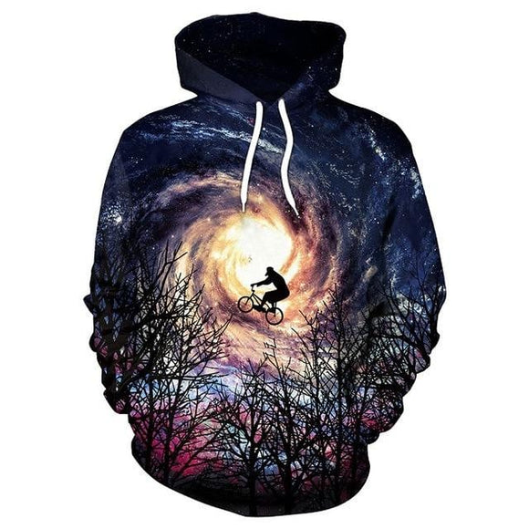 Space Clothes | Galaxy 3D Printed Bicycle Flight Hooded Sweatshirt -Space toys, Space art, levitating lamps ,Space inspired tech products, smart electronics