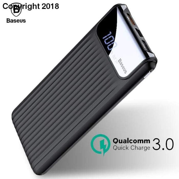 Baseus Quick Charge 3.0 Power Bank 10000mAh Dual USB LCD Powerbank External Battery Charger For Mobile Phones Tablets Poverbank - future-rockets