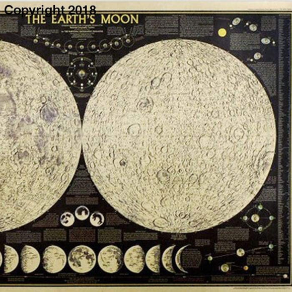 Large Vintage Retro Paper Earth Moon World Map Poster Wall Chart Home Decoration Wall Sticker - future-rockets