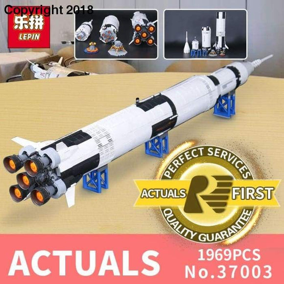 lepin 37003 apollo saturn v compatible with LegoINGlys 21309 vehicle rocket bricks model building kits blocks toy christmas gift - future-rockets