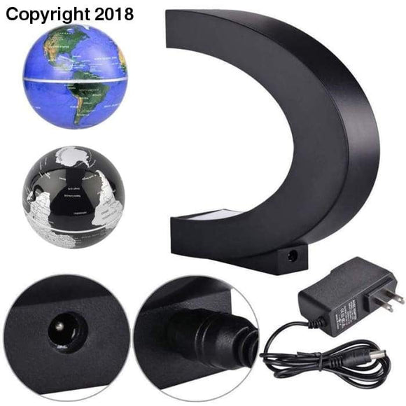 New Electronic LED Floating Tellurion Globe C Shape Magnetic Levitation Light World Map Tellurion Birthday Gift Xmas Decoration - future-rockets