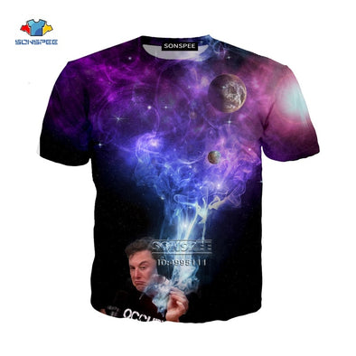 SONSPEE 3D Print Funny Elon Musk Smoking Space Women's T-shirt Men's TShirt Harajuku Summer Tshirt Short Sleeve Casual Tops