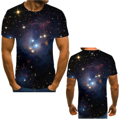 Science fiction space 3D printed T-shirt summer top new men's Multi Size laminated solid T-shirt short sleeve beach T-shirt