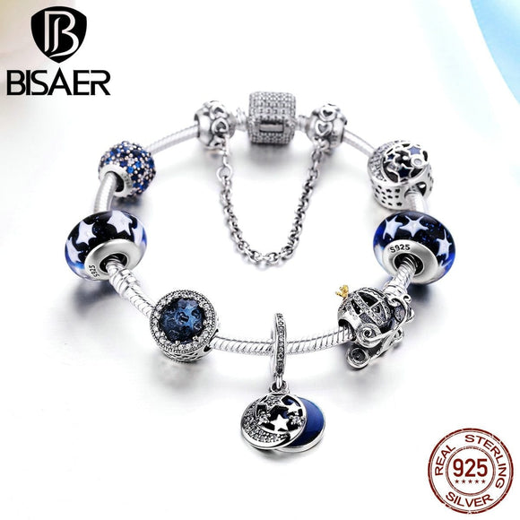 925 Sterling Silver Glittering Moon and Star, Pumpkin Car & Blue Radiant Beads Femme Charm Bracelet Valentine Gift Jewelry -Space toys, Space art, levitating lamps ,Space inspired tech products, smart electronics