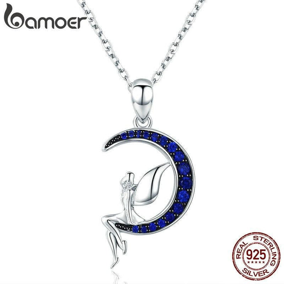 BAMOER Hot Sale 100% 925 Sterling Silver Lucky Fairy in Blue Moon Pendant Necklaces Women Sterling Silver Jewelry Gift SCN244 - future-rockets