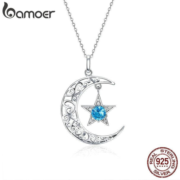 BAMOER Romantic 925 Sterling Silver Sparkling Moon And Star Necklaces Pendants for Women Fashion Necklace Jewelry Gift SCN278 -Space toys, Space art, levitating lamps ,Space inspired tech products, smart electronics