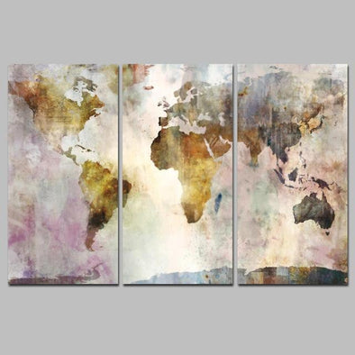 3Panel World Map Canvas - Buy Watercolor World Map Art