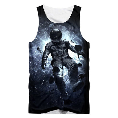 UJWI Casual Unisex Space 3D Print Tank Tops Breathable Summer Astronaut Printed Men's Muscle Shirt Body Building Vests Clothing