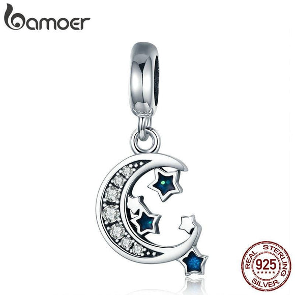 BAMOER Authentic 925 Sterling Silver Sparkling Sky Moon & Star Clear CZ Dangle Charm fit Charm Bracelet Fine Jewelry Gift SCC639 - future-rockets