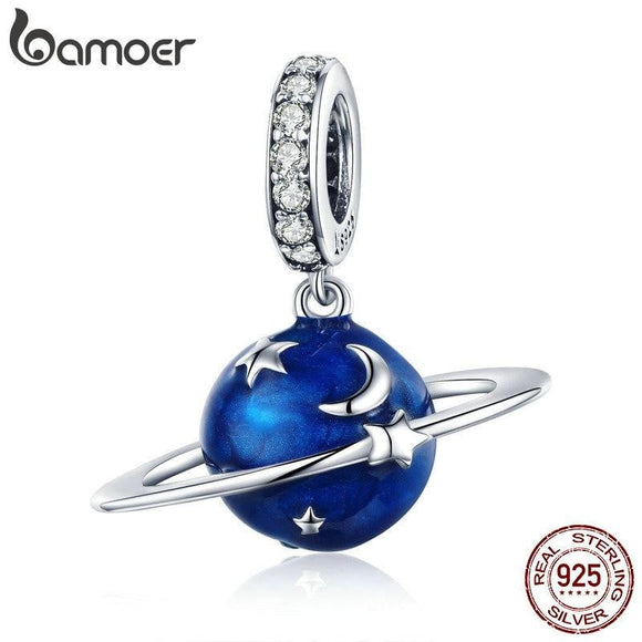 BAMOER 925 Sterling Silver Secret Planet Moon Star Pendant Blue Enamel Charms Fit Charm Bracelets Necklace Silver Jewelry SCC933 -Space toys, Space art, levitating lamps ,Space inspired tech products, smart electronics
