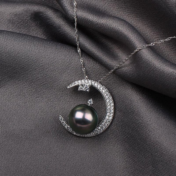 AINUOSHI 925 Sterling Silver Moon Shaped Necklace Pendants Natural South Sea Black Tahiti Pearl Round Pearl Necklace Pendants - future-rockets
