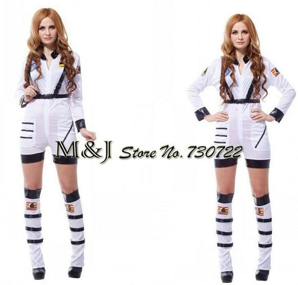 Free shipping!!Adult women's space suit costumes Stage performance space policewoman dress up on Halloween costume - future-rockets