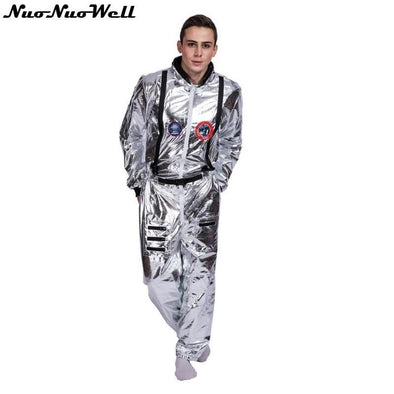 Space Suit For Men, Adult Plus Size, Astronaut Costume Silver Pilot Costume, One Piece Jumpsuit - future-rockets