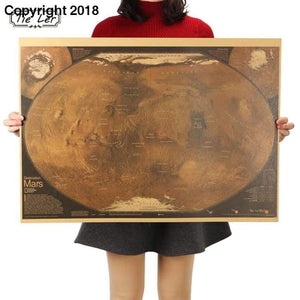 TIE LER Mars Map Poster Retro Vintage Living Room Decoration Picture Large Size Wall Sticker Home Art Posters - future-rockets