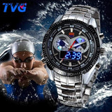 TVG Stainless Steel Luxury band Fashion Black Digital Watch Sport Men's Analog LED dual time zone 3ATM Waterproof relojes hombre - future-rockets